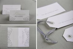 Chrystalace wedding stationery classic vintage grey and green reception stationery with custom envelope.