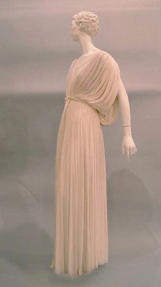 Evening dress Evening dress Designer: Madame Grès (Alix Barton) (French, Paris 1903–1993 Var region) Date: ca. 1965 Culture: French Medium: silk Dimensions: Length at CB (a): 47 1/2 in. (120.7 cm) Length (b): 74 in. (188 cm) Credit Line: Anonymous Gift, 1983