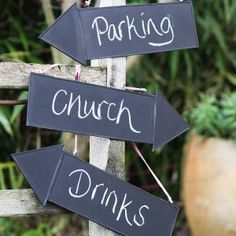 How cute are these chalkboard wedding signs? You can have some fun with the words, for example, you could have different signs for 'Booze', 'Loos' and 'I Do's'. Find them here: http://www.biome.com.au/wedding-decorations/10138-wedding-chalkboard-sign-arrow-5060257038404.html