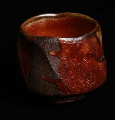 Lisa Hammond--Red Shino Faceted Chawan