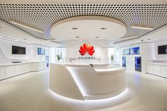 The Huawei showroom is a successful hybrid of futurism and modern functionality, a space that features an undulating fluid design.