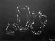 still life drawing on black paper - Google Search