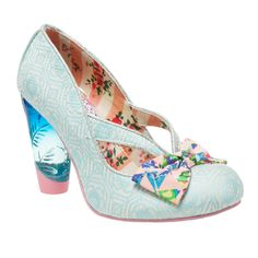 Hello Ha! This bright style features a blue-tinted lucite heel, and bright multi coloured toe-box bow. The unique cut-out upper with a geometric flower print makes this heel perfect for sunny days!