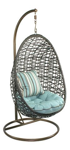 Woven half-egg hanging chair // Heck yes! #furniture_design