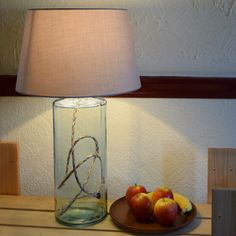 This lamp base has several unique features: made from recycled glass, it is fitted with a multi coloured cotton braided flex and a cork stopper at the top for the bulb holder. Recommended lamp shade sizes are and Glass Lamp Base, Table Lamp Base, Lamp Bases, Table Lamps, Interior Styling, Interior Decorating, Interior Design, Recycled Glass, Beautiful Homes