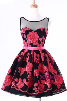 Tulle prom dress, homecoming dress, cute red and black tulle short prom dress for teens