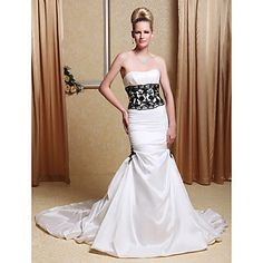 Taffeta Strapless Trumpet Wedding Dresses with Beaded Lace  – USD $ 249.99