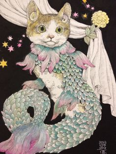 yuko higuchi, I simply adore this cat serpent on a starry sky