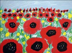 The smARTteacher Resource: Grade Poppies in Perspective. - Create poppies with pastel and oil paint - if you leave the perspective out, also usable in first grade Poppy Field Painting, 2nd Grade Art, Grade 2, Second Grade, Remembrance Day Art, Ww1 Art, Poppy Craft, Perspective Art, Spring Art