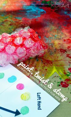 Paint, Twist and Stomp with Bubble Wrap! A creative painting activity for kids.