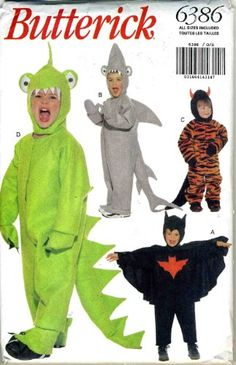 Butterick Costume Pattern 6386 ~ Dragon, Dinosaur, Shark, Bat, Devil ~ Toddler Sizes S-M-L - funny weight loss Animal Halloween Costumes, Coupons By Mail, Costume Patterns, School Shirts, T Shirts With Sayings, Shark, Dragon, Weight Loss, Sewing