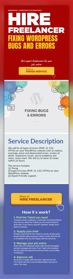 Fixing WordPress Bugs and Errors WordPress, WordPress Customization   We will fix all types of errors (PHP, JS, CSS, HTML) on your WordPress website such as notices, warnings, parse and deprecated errors, screen of death, responsive issues, server problems and many, many more. We will try to solve all issues within 24 hours.    The service includes:  [1] Fixing all types of errors (PHP, JS, CSS, H...