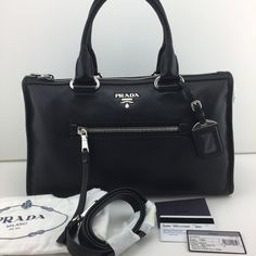 a018653f6e905b Authentic PRADA Handbag Shoulder Bag BL0805 Leather Black Zip Vitello  Phenix NEW