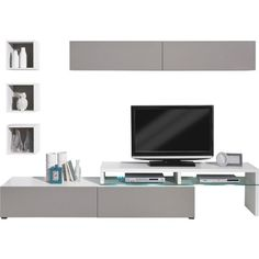 """<div>Die Wohnwand """"Colour Art"""" von <b>CS SCHMAL</b> ist eine optimale Lösung für Ihr Wohnzimmer. Die Kombination aus geschmackvollen Möbeln ist aus solider Flachpressplatte gefertigt und in Weiß gehalten. Die Fronten sind in modernen <b>Grautönen</b> gehalten. Ihre Wohnzimmereinrichtung besteht aus 2 Hängeschränken, <b>3 Regalen</b>, einem TV-Aufsatz und dem dazu passenden TV-Element. Die Möbel haben insgesamt eine Breite von ca. 332,5 cm und geben dem Raum ein angenehmes Flair. Entdecken…"""