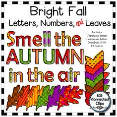 Bright Fall Letters, Numbers, and Leaves $ This bright fall collection includes offset patterned letters. No two uppercase letters are alike. No two lowercase letters are alike.  Includes... 26 uppercase letters 26 lowercase letters Numbers 0-9  Punctuation (period, exclamation mark and question mark)  67 png images in all! 300dpi for crisp printing. *All images will size up to 4 inches. https://www.teacherspayteachers.com/Product/Bright-Fall-Letters-Numbers-and-Leaves-2131979