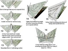 A nice time killing paper folding exercise into a lovely looking butterfly made from a dollar bill:instructions here andhere. More... continue