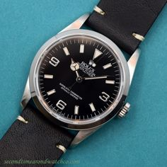 A 1995 Rolex Explorer Ref. This fantastic timepiece features a black dial with applied, steel Arabic numerals, framed white luminous markers, and luminous Mercedes-Rolex hands. This example also comes strapped with a Modern Watches, Luxury Watches, Rolex Watches, Watches For Men, Vintage Rolex, Vintage Watches, Stainless Steel Rolex, Rolex Explorer, Panerai Luminor