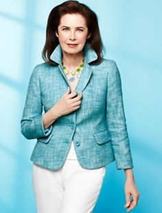 Talbots - Talbots Kate Fit Romance Tweed Piped Jacket love the color