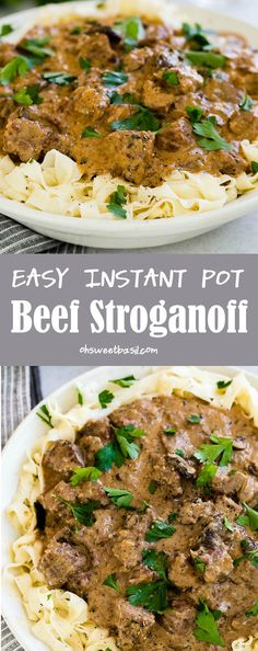 The BEST recipe for Easy Instant Pot Beef Stroganoff, everything you need to know about making beef stroganoff in a slow cooker or instant pot.  via @ohsweetbasil