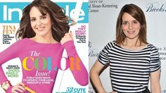 Tina Fey with and without Photoshop.