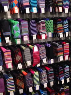 Men must have good printed socks, polka-dots, stripes, argyle, colorful, intricate knit details, and the staple-cashmere grey and black. -LS