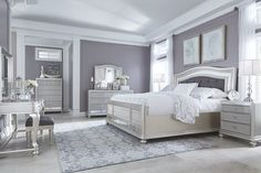 Coralayne silver bedroom furniture set with mirrored lower panels and vanity set