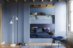 Dulux Colour Futures 17 - Colour of the Year - Denim Drift - Kids Bedroom - Denim Drift, Sash Blue, Cornflower Bunch, Marine Waters Dulux Paint Colour Of The Year, Dulux Paint Colours, Color Of The Year 2017, Denim Drift, Dulux Valentine, Built In Bunks, Cool Bunk Beds, Blue Rooms, Small Apartments
