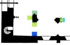 Fig. 49: cartographie du chapiteau O de la 2° grande arcade S de la nef: chapiteau végétal, formule mixte, avec figures (à gauche, le narthex).- 174) IMAGES REVUES:  Nous finirons l'examen des chapiteaux végétaux de cette partie O de la nef avec le chapiteau S.O de la 2° travée (Fig. 49 et 50) combinant les types 2 et 5 avec des figures. Il présente une double figure d'acanthes hautes et grasses, sans caulicole, surmontée d'un calathos à décor important (codage mixte vert jaune et…