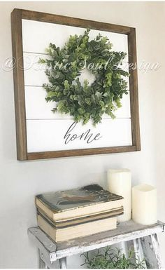 Perfect farmhouse style sign for my living room. Love the simplicity! And it has shiplap! home wreath sign, Shiplap wreath sign, farmhouse wreath, fixer upper inspired decor, farmhouse sign, eucalyptus wreath, shiplap sign, rustic decor #ad #rustichomedecor