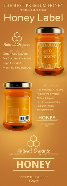 Honey Label Design Templates on @codegrape. More Info: https://www.codegrape.com/item/honey-label-design-templates/11964