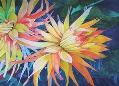 Art Original Large Watercolor Painting of DINNERPLATE DAHLIAS  Karin Novak-Neal
