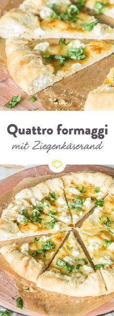 Eine extra Portion Käse gefällig? Etwas Parmesan hier, ein wenig Ricotta da und noch mehr Mozzarella obendrauf. Hast du dich bis zum Pizzarand durchgebissen, erwartet dich sogar noch mehr Käse – und zwar cremiger Ziegenkäse!