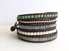 Turquoise Leather Wrap Bracelet - Aventurine, Magnesite Turquoise, Crystal Beads, Brown Leather - Boho Artisan Chic