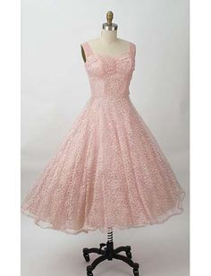 Authentic 50s Vintage Pink Lace Sweetheart Style Prom Wedding Dress