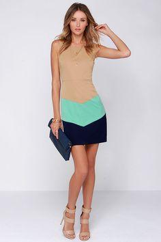 Triple Play Tan Color Block Dress
