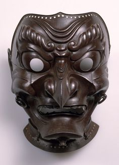 kabuki mask template - mask inscribed by myochin muneakira japanese edo period