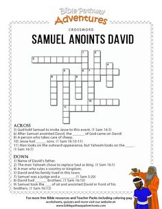 Enjoy our free Bible crossword: Samuel anoints David. Fun for kids to print and test their knowledge of King David. Feel free to share with others, too! Preschool Bible Lessons, Bible Lessons For Kids, Bible Activities, Bible For Kids, Bible Games, Sunday School Projects, Sunday School Lessons, School Ideas, David Bible