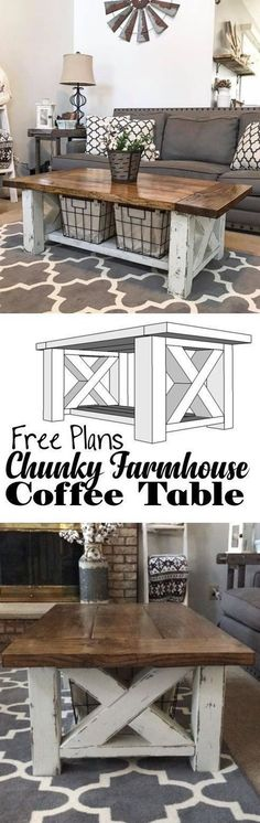 How TO : Build a DIY Coffee Table - Chunky Farmhouse - Woodworking Plans (scheduled via http://www.tailwindapp.com?utm_source=pinterest&utm_medium=twpin)