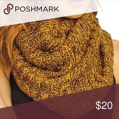 "🔥Flash Sale!Mixed Mustard knit Scarf Awesome warm scarf, mustard and dark gray two tone colors blended together✨one size. Approximately 12""wide 30""long stretchable, 100% acrylic. Accessories Scarves & Wraps"
