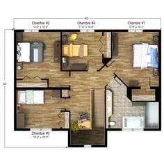 Modèle maison usinée 774 (étage)
