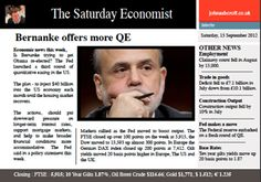 The Saturday Economist 15th September, Bernanke makes a move and UK jobs market improves outlook!