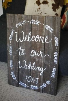 Rustic Wedding Welcome Sign - Initials $75