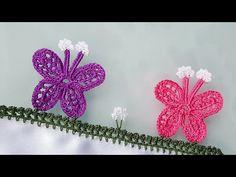 Kanatlı Kelebek Tığ Oyası Yapımı - YouTube