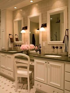 Double sink bathroom vanity with makeup table