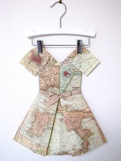 Would be so cute as wall decor in a sophisticated little girls room--Folded Paper Dress - Miss Italy. $70.00, via Etsy.