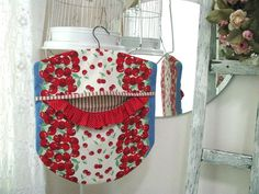 Summer Cherries Laundry Day Clothes Pin Bag - Wood Hanger - Red Cherries - Red Ticking. $28.00, via Etsy.