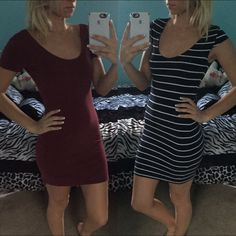 ✨SALE TIL MIDNIGHT✨Dress Bundle Two super cute fitted tshirt dresses, one maroon, size small; the other navy and white striped, size xs but fits like small. Great for the upcoming Spring to pair with vests and wedges! I'm 5'4 and these both come about three inches above my knee. Dresses