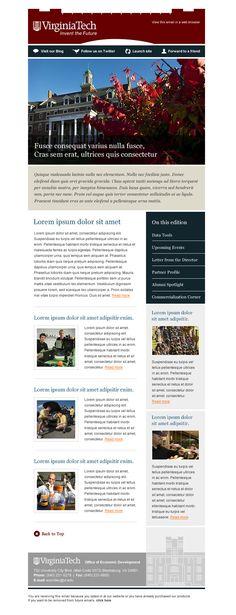 Email Template for VirginiaTech University Mailchimp Email Design by Farm.Co
