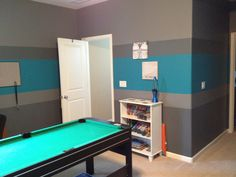 Boy bedroom - the ultimate boys room! Painted with Gray and turquoise stripes!