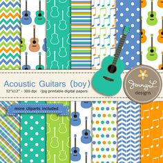 Guitar Boy Digital Paper and Clipart Acoustic by JennyLDesignsShop